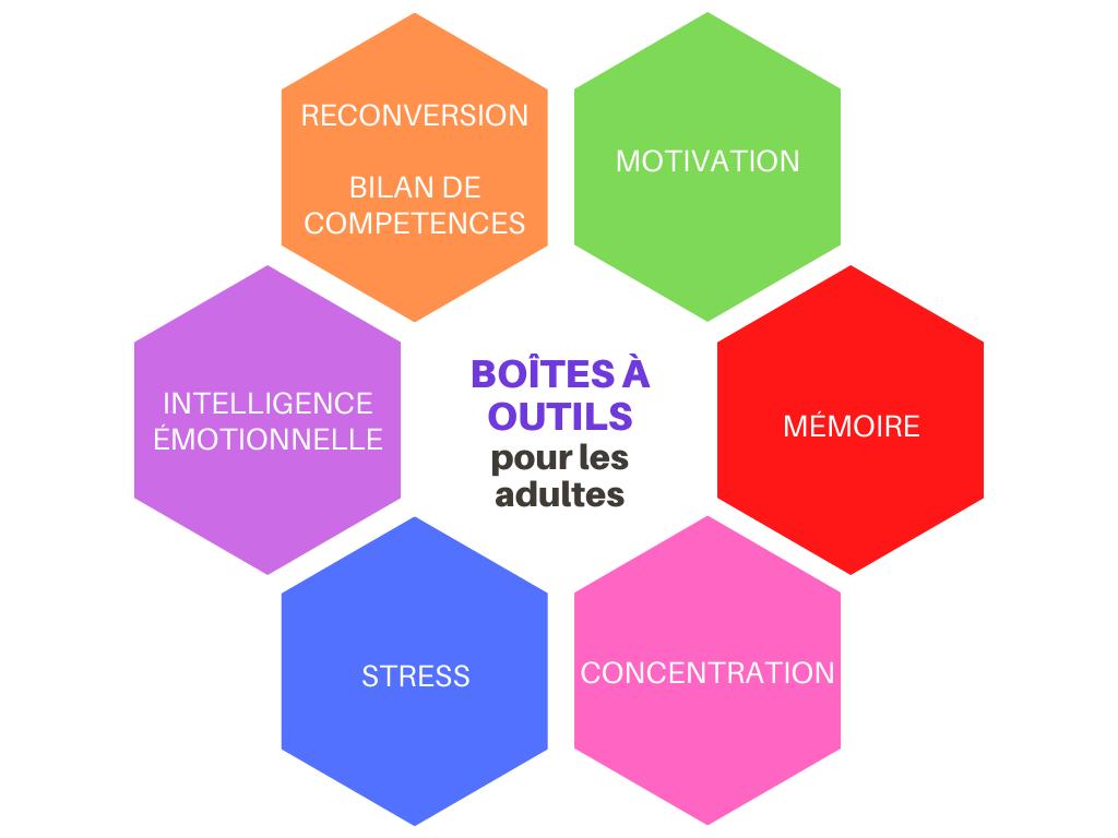Déclic Réussite a construit des boîtes à outils pour répondre aux problèmes majeurs que rencontrent les jeunes et les adultes : motivation, concentration, mémorisation, stress, gestion du temps, orientation, reconversion...